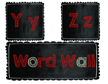 Word Wall Letters: Chalkboard with Red and Beige Letters