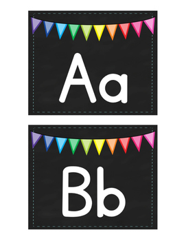 Word Wall Letters - Chalkboard Square with Bunting Banner