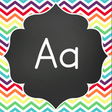 Word Wall Letters - Chalkboard with Rainbow Chevron