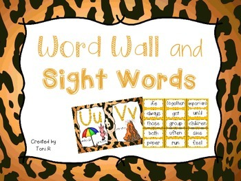 Word Wall Letters Cheeta Print Jungle Background and first 300 Fry Sight Words