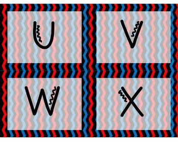 Word Wall Letters - Chevron Red and Blue