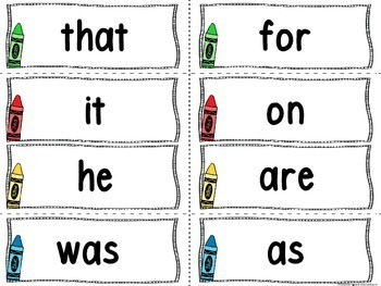Word Wall Letters Crayon Theme and 200 Fry Words