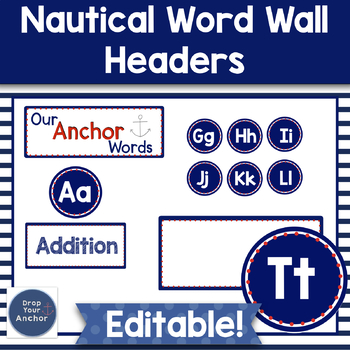 Word Wall Letters Editable- Nautical