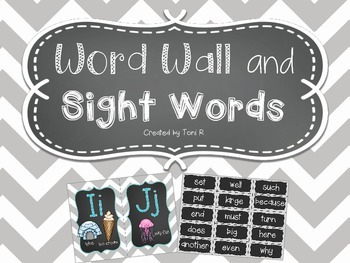 Word Wall - Gray Chevron w/ Chalkboard Background and firs