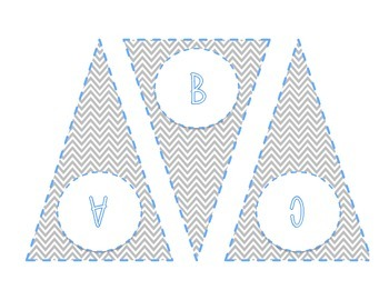 Printable: Word Wall Letters - Gray Chevron with Blue High