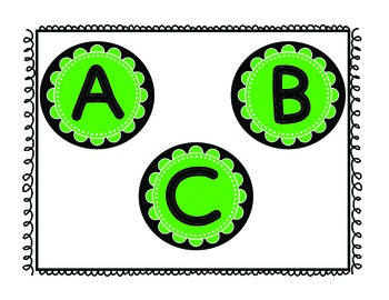 Word Wall Letters Green & Black