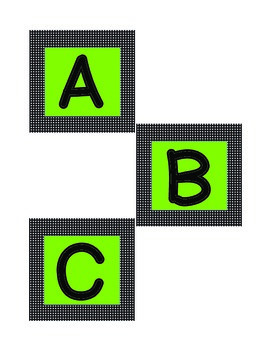 Word Wall Letters Green & Black - Square