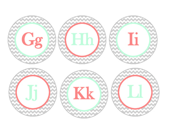 Word Wall Letters --Small (Grey Chevron, Coral, and Mint)