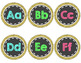 Word Wall Letters Headers in Chalkboard and Gold Glitter Circles