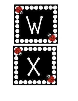 Word Wall Letters Ladybug and Polka dot themed