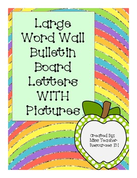 Word Wall Bulletin Board Letters - Large with Picture and Letter Lines