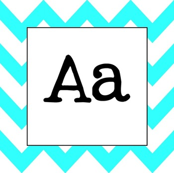 Word Wall Letters (Light Blue Chevron)