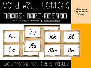 Word Wall Letters: Maps/Travel Themed