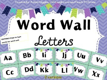 Word Wall Letters (Mint Stripes)-2 versions
