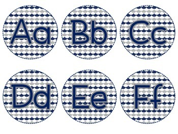 Word Wall Letters - Navy and Gray
