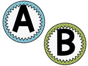 Word Wall Letters (Neutral Colors: Blue, Green, and Gray)