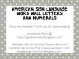 Word Wall Letters & Numerals - American Sign Language