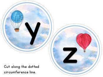 Word Wall Letters Only - Watercolor Hot Air Balloon Theme