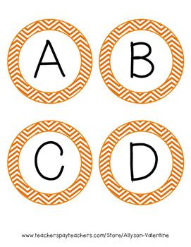 Word Wall Letters - Orange Chevron