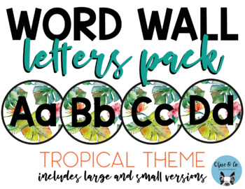 Word Wall Letters Pack Tropical Theme