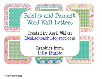 Word Wall Letters - Paisley and Damask Patterns