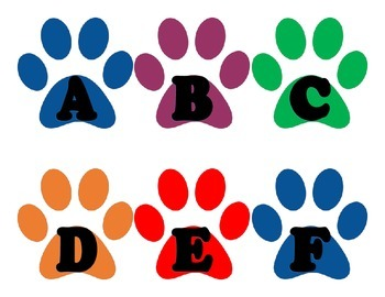 Word Wall Letters Paw Print