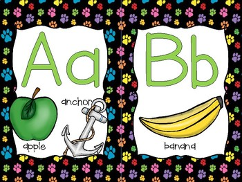 Word Wall Letters Paw Print Background and first 300 Fry Sight Words