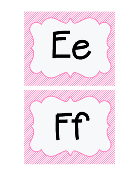 Word Wall Letters- Pink Stripes