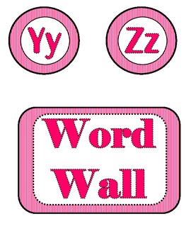Word Wall Letters - Pink Zebra