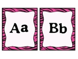 Word Wall Letters- Pink Zebra Theme