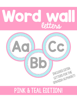 Word Wall Letters - Pink and teal chevron