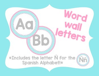 Word Wall Letters - Pink and teal chevron (Bigger Size)