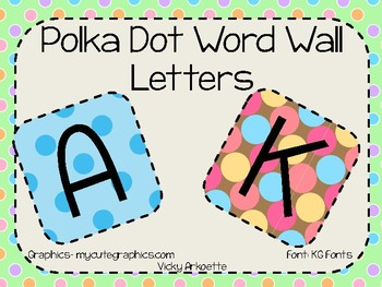 Word Wall Letters- Polka Dot Theme