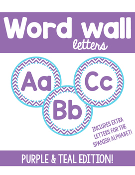 Word Wall Letters - Purple and teal chevron