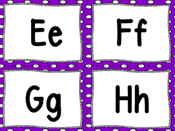 """Word Wall Letters Purple with White Polka Dots and """"200"""" Fry Words"""