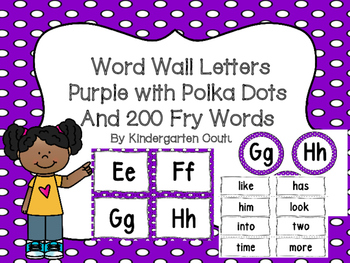 "Word Wall Letters Purple with White Polka Dots and ""200"" Fry Words"