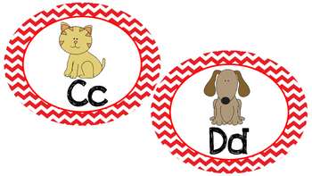 Word Wall Letters- Red Chevron