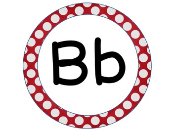 Word Wall Letters Red Polka Dot