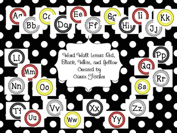Word Wall Letters Red, White, Black, and Yellow