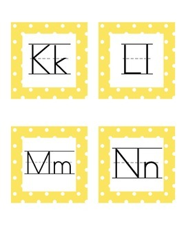 Word Wall Letters: Red and Yellow Polka Dots