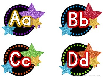 Word Wall Letters - Rock Star Theme