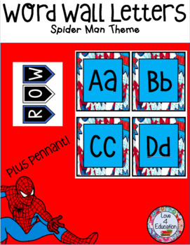 Word Wall Letters Spiderman Theme