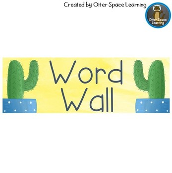 Word Wall Letters - Succulent Theme