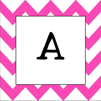 Word Wall Letters  UPPER CASE (Hot Pink Chevron)
