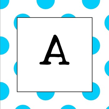 Word Wall Letters  UPPER CASE (Light Blue Polka Dot)