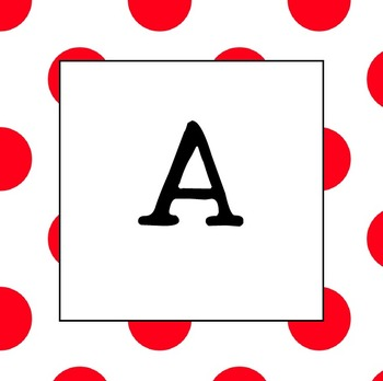 Word Wall Letters  UPPER CASE (Red Polka Dot)