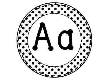 Word Wall Letters - White with Black Dots