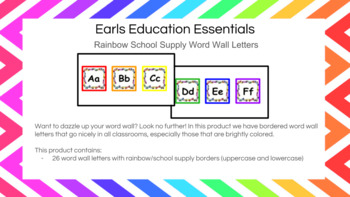 Word Wall Letters With Rainbow School Supply Border