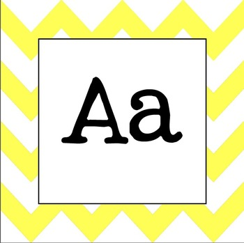 Word Wall Letters (Yellow Chevron)