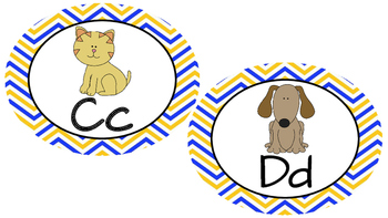 Word Wall Letters- Yellow and Blue Chevron